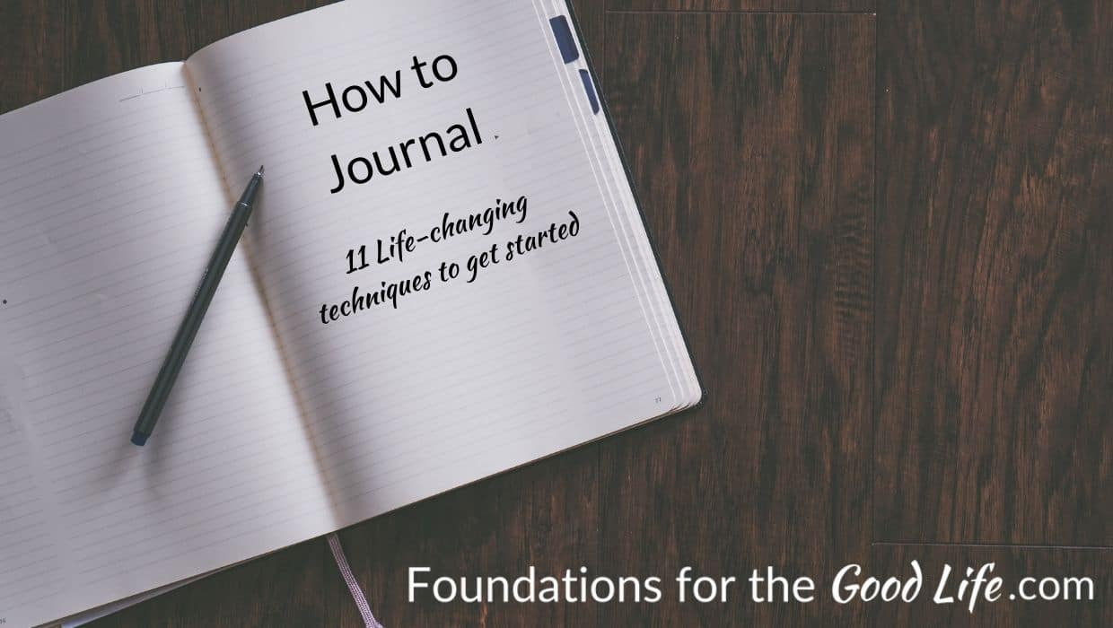 "White ruled notebook, open to a blank page on black surface. Text overlay on photo reads, ""How to Jouranl 11 Life-changing technique to get started"""